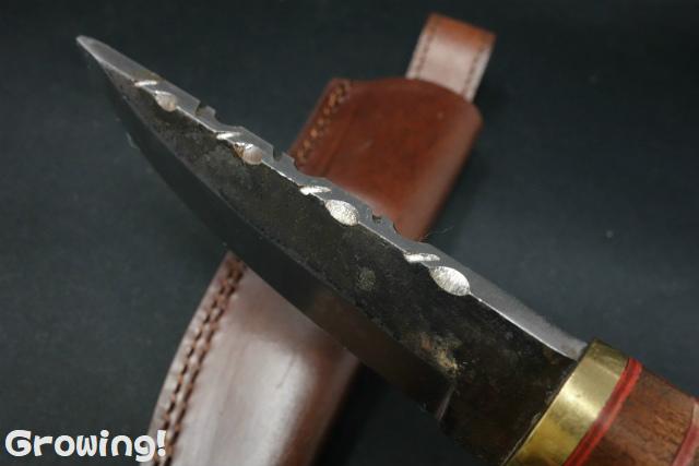 「ハンターナイフ」【カーボン鋼】【ファイルワーク】【ウッド】